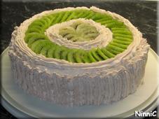 Tårta med jordgubbsgrädde.