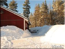 110211 Ingången mot huset är fri från snön nu.