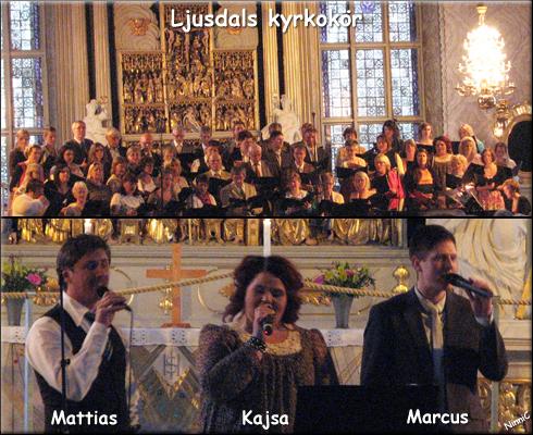 Överst Ljusdals kyrkokör. Nederst Mattias, Kajsa och Marcus som var med i Team Andreas kör i Körslaget.