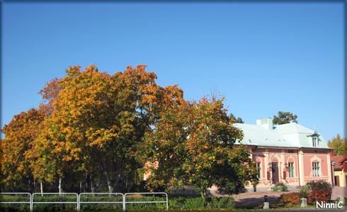 """Höstfärger vid """"palatset"""". Numera Odd fellows hus och park."""