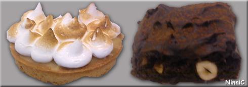 120904 Citronmarängpaj och Brownie med nötter. Gött fika på Ljustorget.