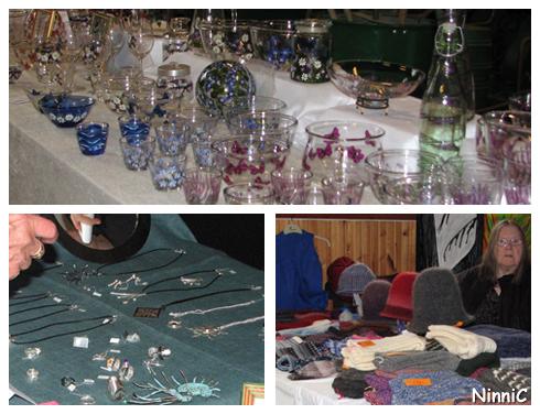120922 Glas, silver och hattar.