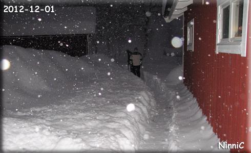 Det hade kommit mycket snö. 45 cm på en natt. T skottar till garaget så E får tag på en spade.